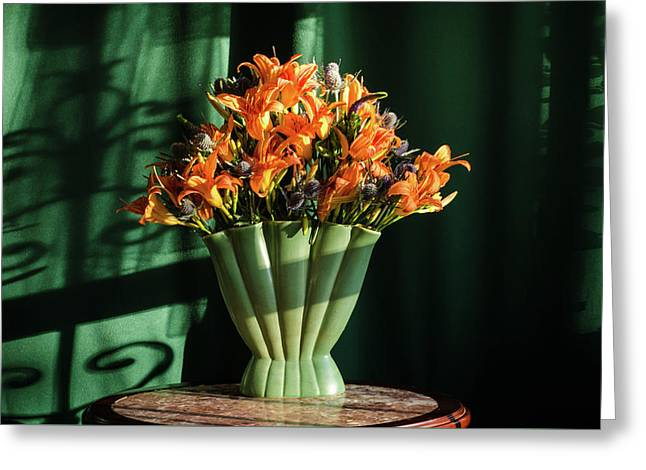 Orange Lilies In June Greeting Card by Wendy Blomseth
