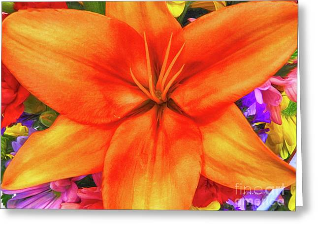 Greeting Card featuring the painting Orange Lilly Art by Deborah Benoit