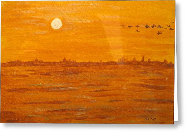 Greeting Card featuring the painting Orange Ocean by Ian  MacDonald