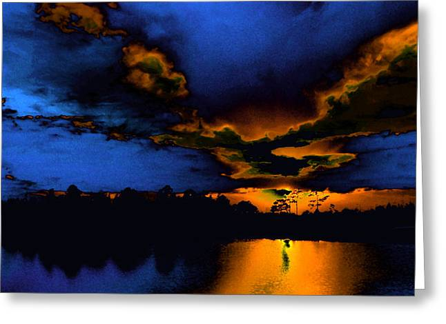 Orange On Blue Greeting Card by Lyle  Huisken