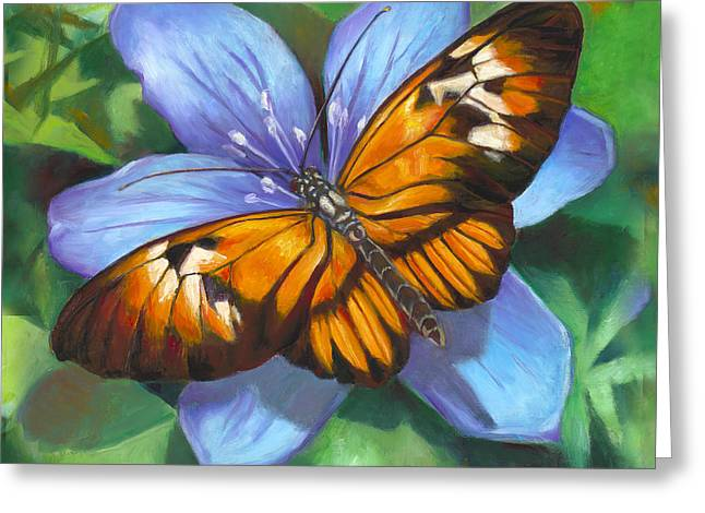 Orange Piano Key Butterfly Greeting Card by Nancy Tilles