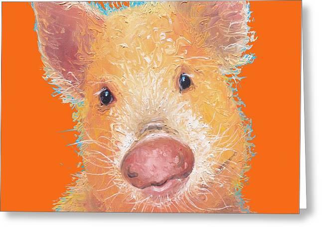 Pig Painting On Orange Background Greeting Card