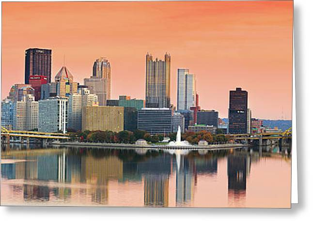 Orange Pittsburgh Sunrise Greeting Card