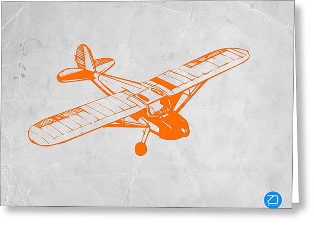Radio Print Greeting Cards - Orange Plane 2 Greeting Card by Naxart Studio
