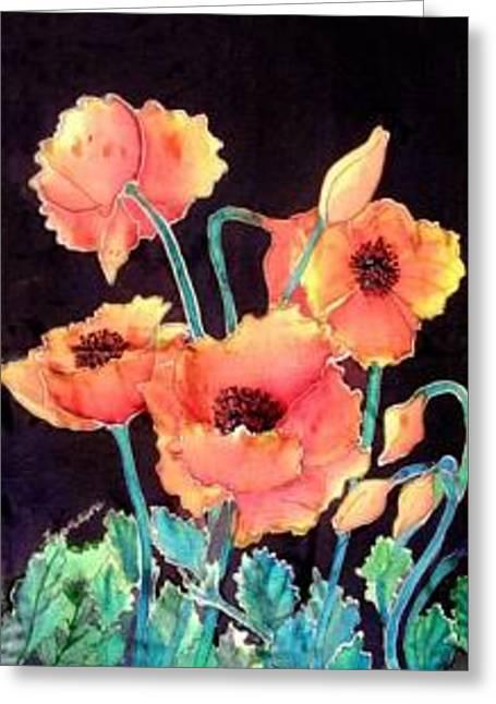 Orange Poppies Greeting Card by Francine Dufour Jones