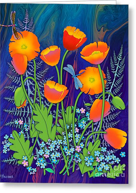 Decorate Greeting Cards - Orange Poppies and Forget Me Nots Greeting Card by Teresa Ascone