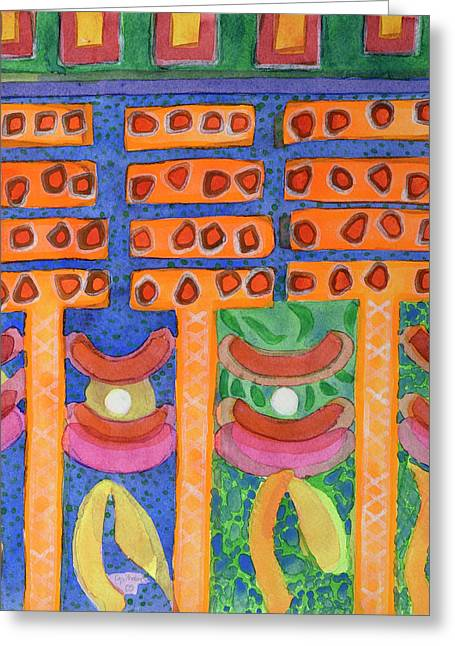 Orange Posts In Mysterious Night Light  Greeting Card by Heidi Capitaine