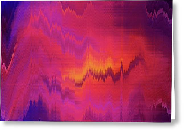 Orange Purple Blurred Abstract Background Texture With Horizontal Stripes. Glitches, Distortion On The Screen Broadcast Digital Tv Satellite Channels Greeting Card by Oksana Ariskina