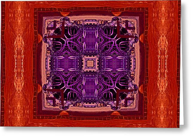 Greeting Card featuring the photograph Orange Red And Purple Kaleidoscope by Barbara MacPhail