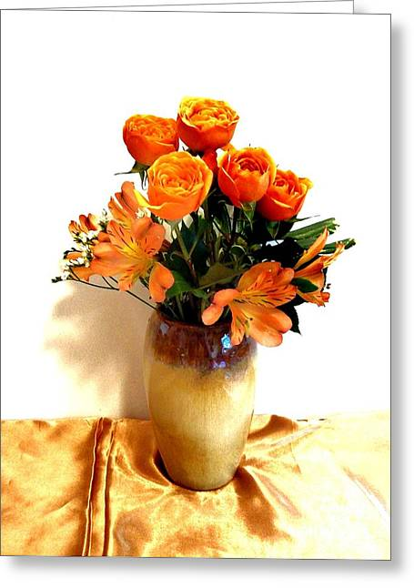 Orange Rose Bouquet Greeting Card by Marsha Heiken