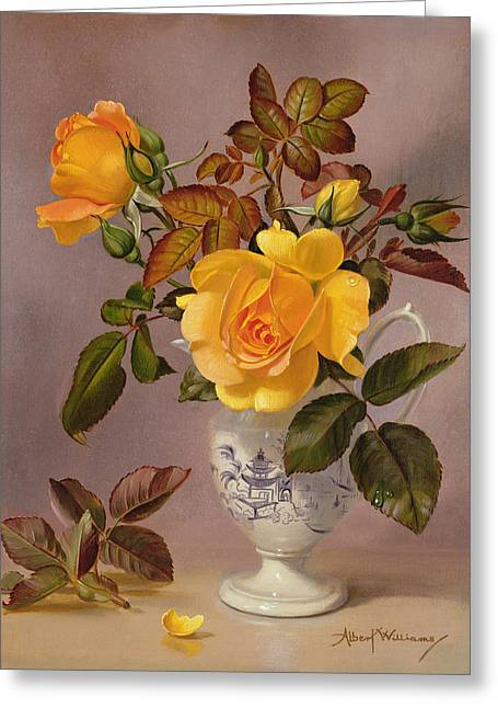 Orange Roses In A Blue And White Jug Greeting Card