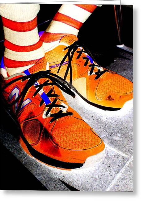 Orange Shoes And Socks Greeting Card by Randall Weidner