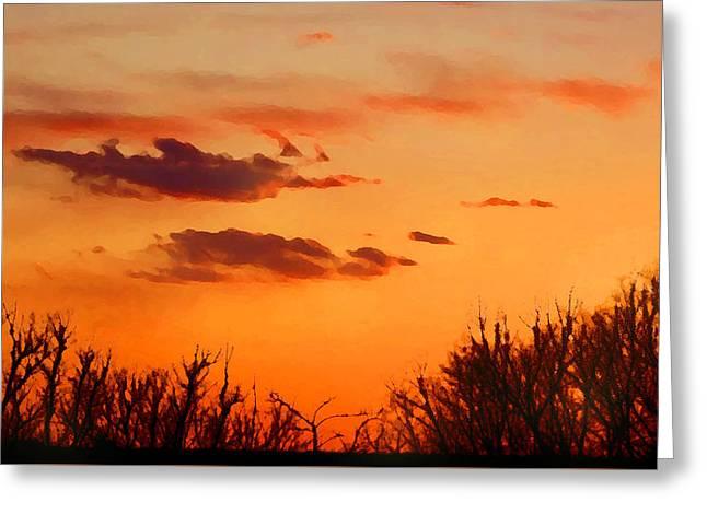 Orange Sky At Night Greeting Card