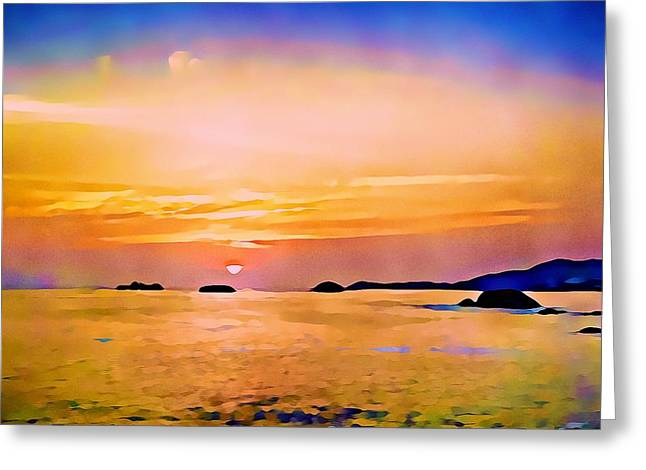 Orange Sky In Ixtapa, Mexico Greeting Card