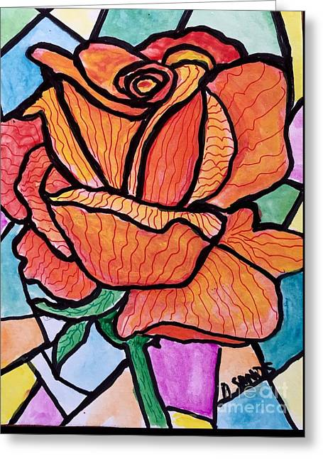 Orange Stained Glass Rose Greeting Card