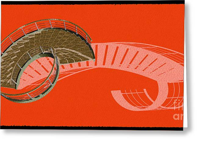 Orange Stair 47 And The Negative Red Shadow Greeting Card