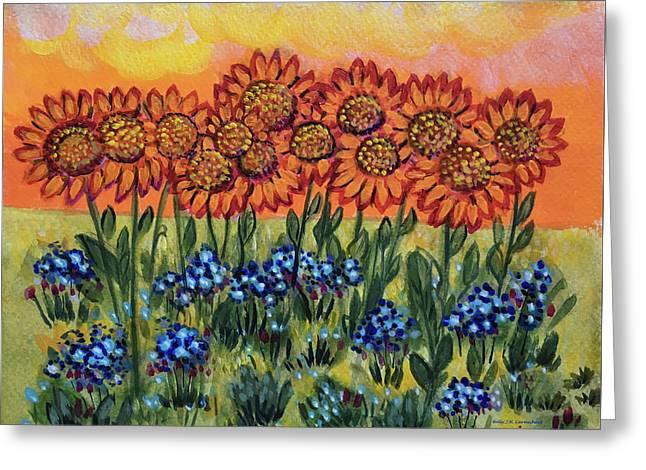 Orange Sunset Flowers Greeting Card