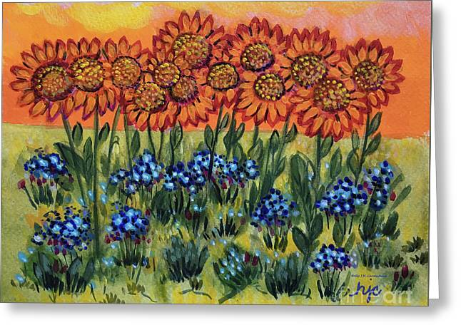 Orange Sunset Flowers Greeting Card