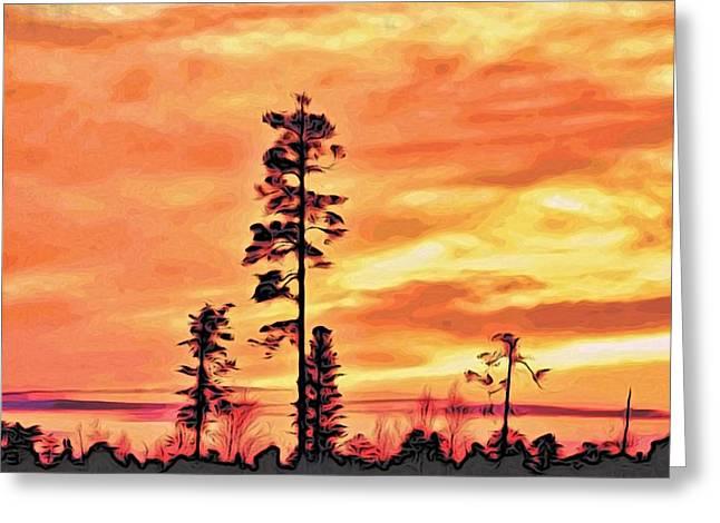 Orange Sunset Greeting Card by Alexandre Ivanov
