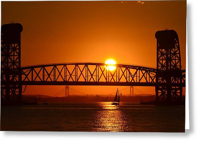 Orange Sunset Brooklyn Bridges Sailboat Greeting Card