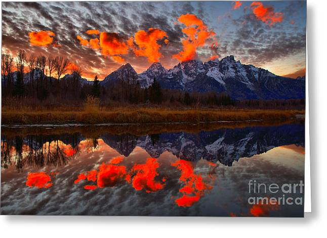 Orange Sunset Highlights Over The Tetons Greeting Card