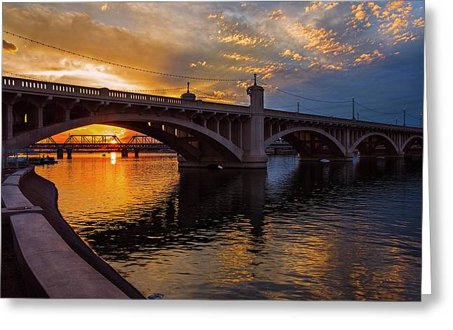 Greeting Card featuring the photograph Orange Sunset Over Tempe Town Lake by Dave Dilli