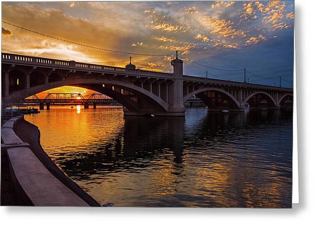 Orange Sunset Over Tempe Town Lake Greeting Card