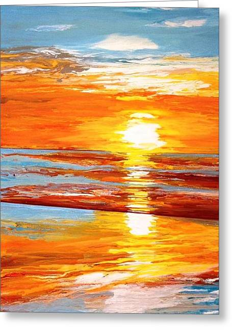 Orange Sunset Over The Ocean Greeting Card by Ivy Stevens-Gupta