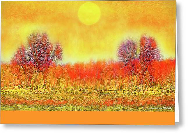 Greeting Card featuring the digital art Orange Sunset Shimmer - Field In Boulder County Colorado by Joel Bruce Wallach