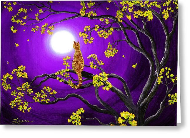 Orange Tabby Cat In Golden Flowers Greeting Card