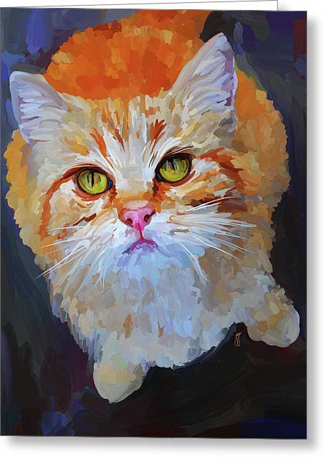 Orange Tabby Paintings Greeting Cards - Orange Tabby Cat Greeting Card by Jai Johnson