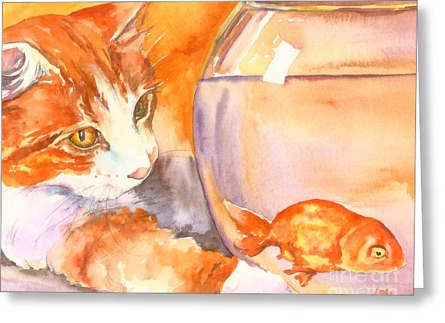 Orange Tabby With Goldfish Greeting Card