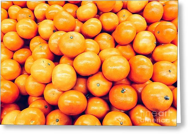 Orange Tangerines In Fruit Market Greeting Card by Radu Bercan