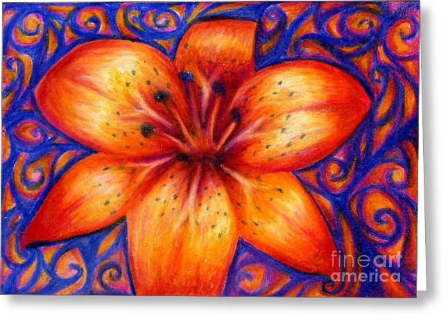 Orange Tiger Lily Drawing Greeting Card