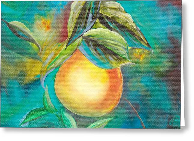 Greeting Card featuring the painting Orange Tree by Mary Scott