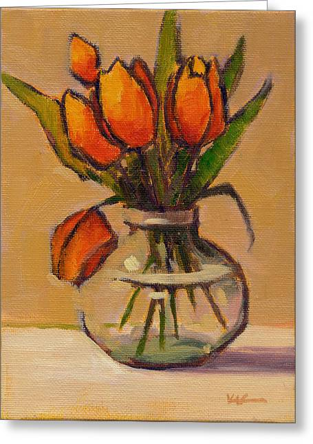 Greeting Card featuring the painting Orange Tulips by Konnie Kim