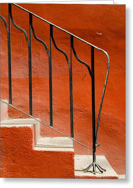 Orange Wall And Steps. Greeting Card