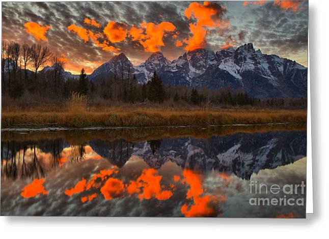 Orange Wisps Over The Tetons Greeting Card