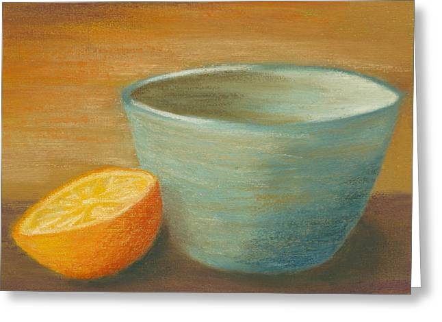 Orange With Blue Ramekin Greeting Card by Cheryl Albert