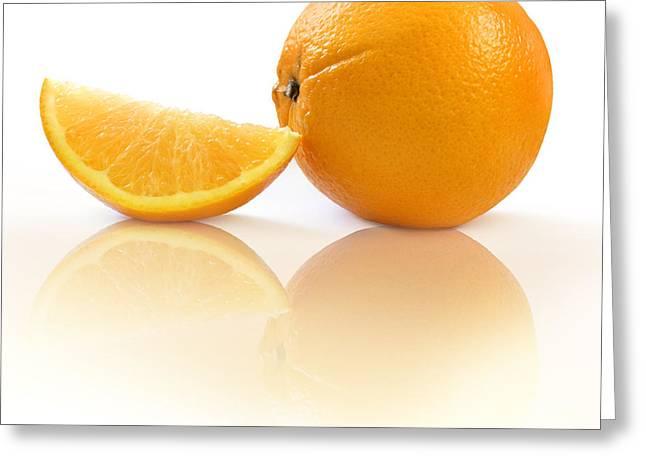 Orange With Slice Greeting Card