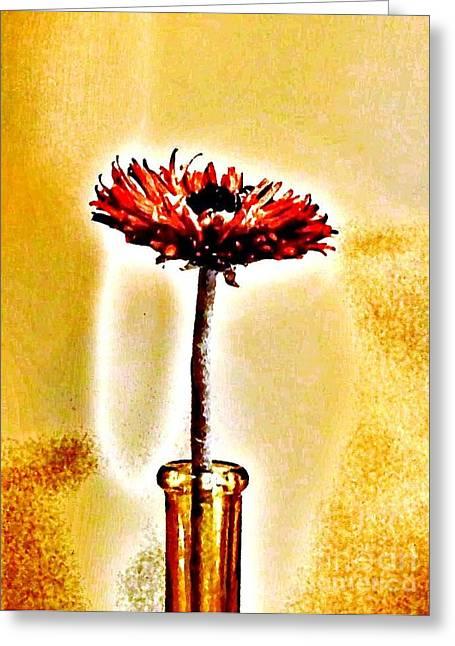 Orange Wooden Flower Greeting Card
