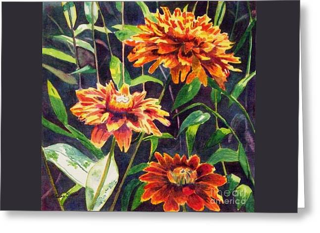 Greeting Card featuring the painting Orange Zinnias by LeAnne Sowa
