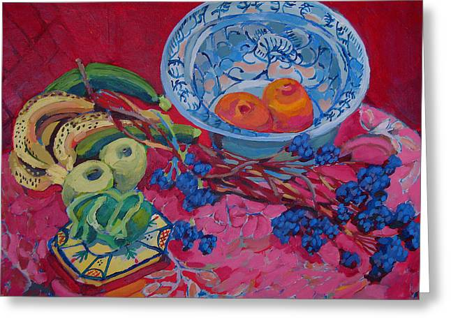 Oranges And Chinese Bowl Greeting Card by Doris  Lane Grey