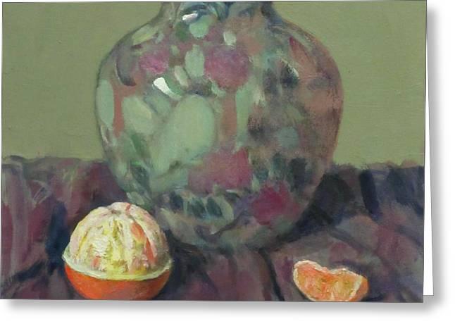 Oranges And Floral Porcelain Vase Greeting Card
