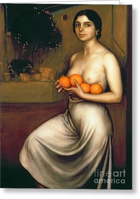 Chest Paintings Greeting Cards - Oranges and Lemons Greeting Card by Julio Romero de Torres