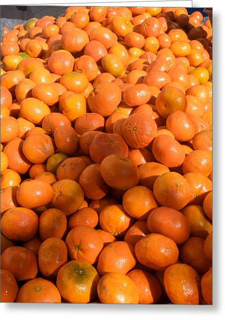 Oranges For Sale In Market, Essaouira Greeting Card by Panoramic Images