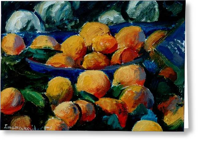 Oranges Greeting Card by George Siaba