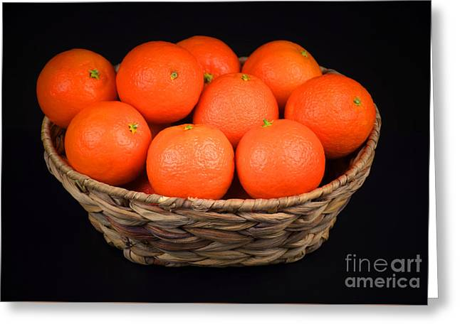 Oranges In A Basket Greeting Card by Ray Shrewsberry