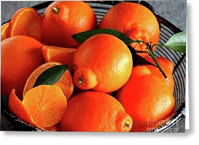 Oranges In Basket Greeting Card by Marta Robin Gaughen