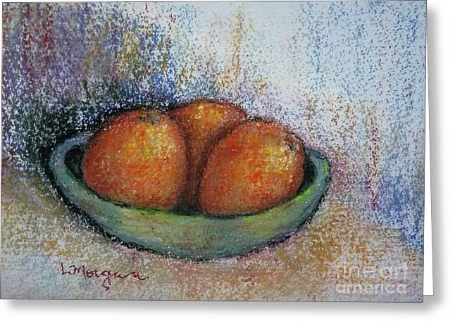 Oranges In Celadon Bowl Greeting Card
